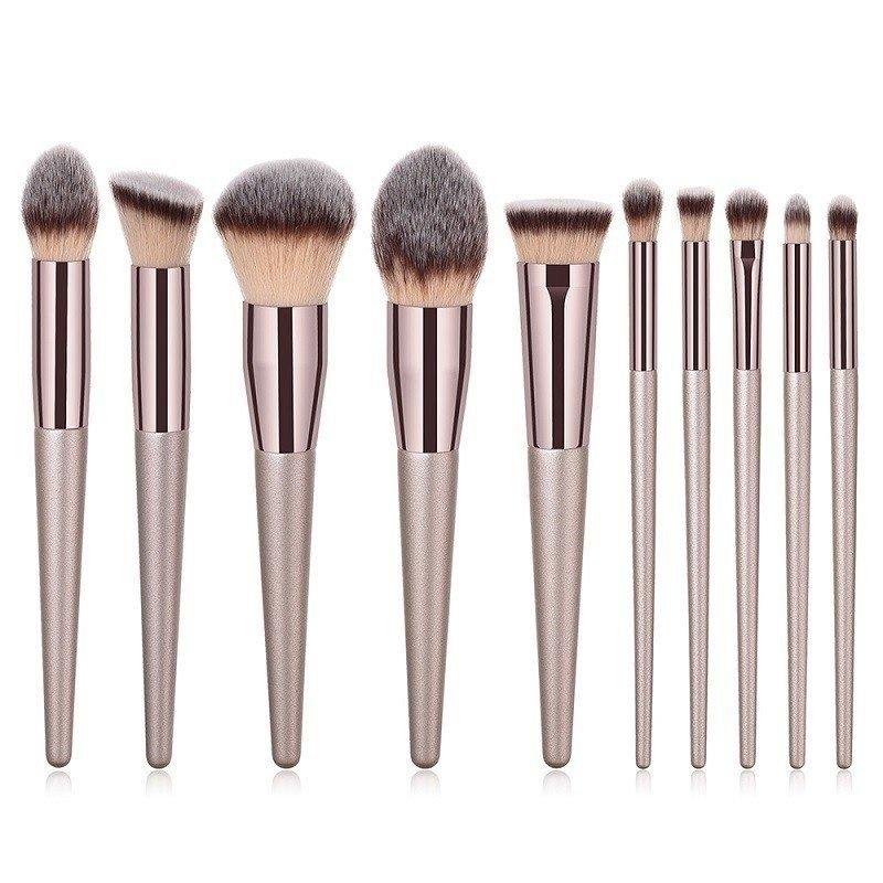 Brush Hut: 10pc Luxury Champagne Professional Grade Makeup Brush Set